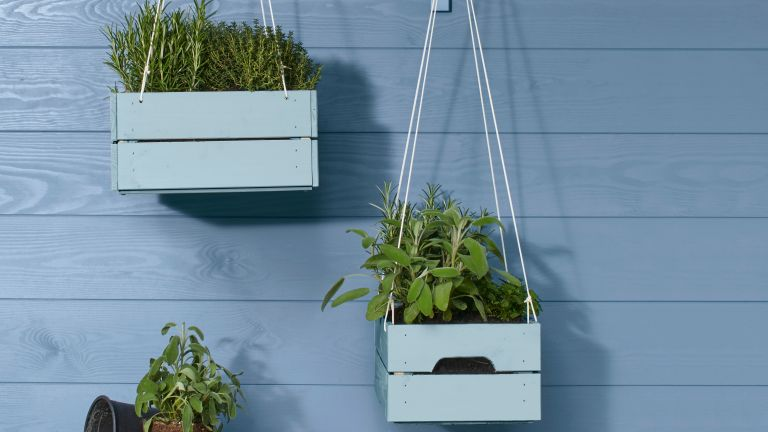 DIY hanging planter for herbs