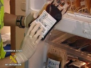 A blood bag discovered by Spanish police during the Operation Puerto blood doping investigation