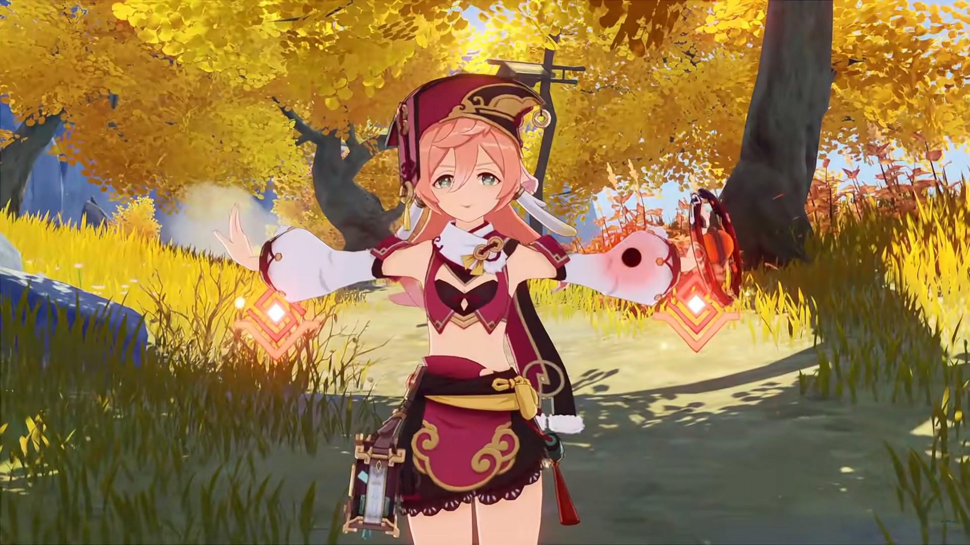 Genshin Impact character, Yanfei, stands in the woods casting Pyro magic