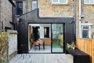 a timber clad kitchen extension