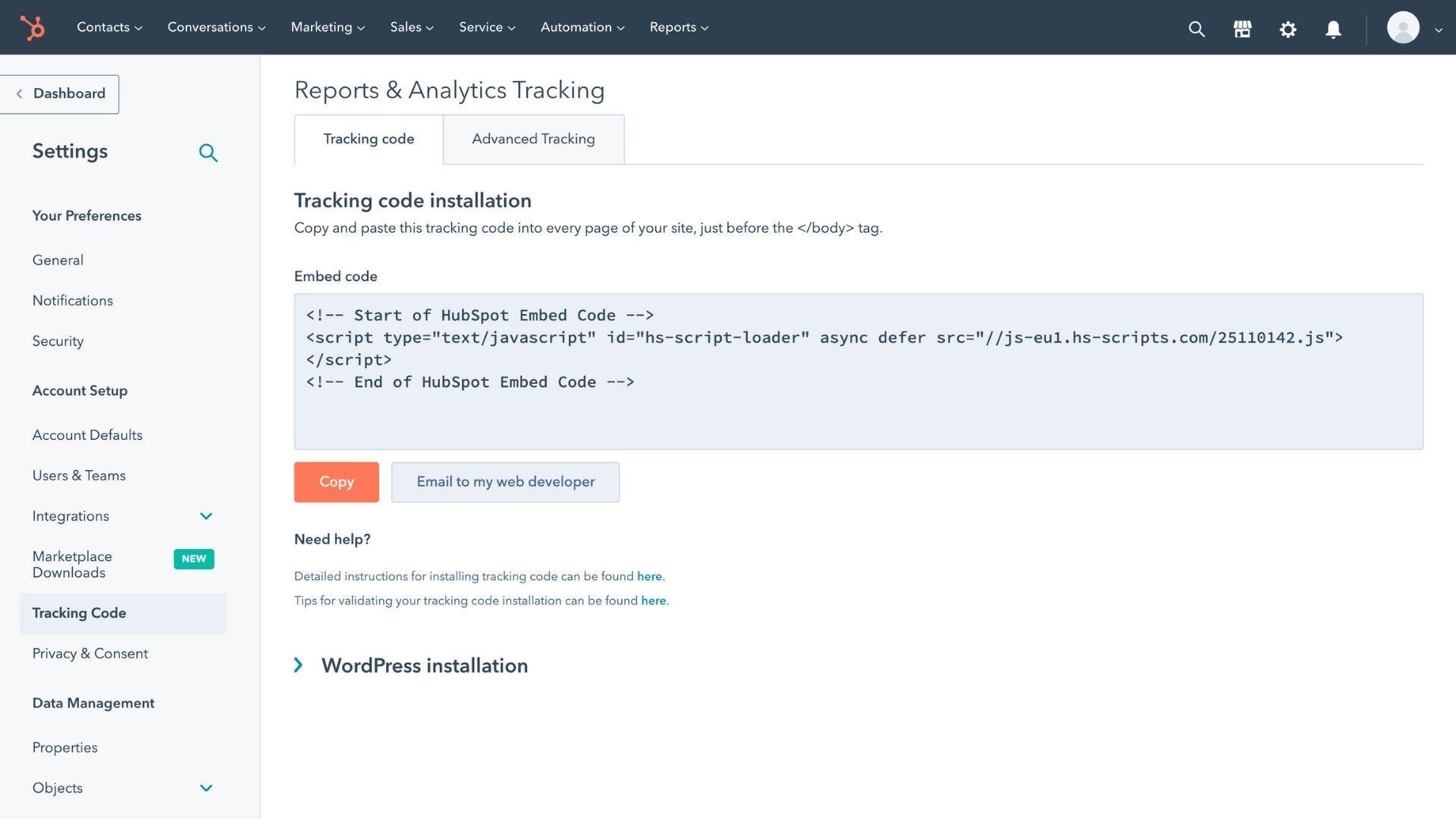 HubSpot's analytics dashboard
