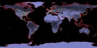 Earth with a sea level rise of 6 meters (20 feet). Imagine a possible future rise of 70 feet.