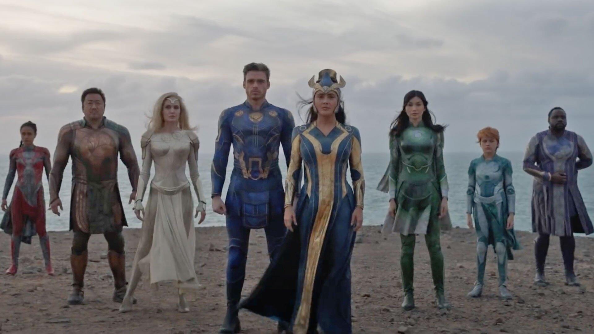The cast of Marvel's Eternals movie including Richard Madden, Salma Hayek and Gemma Chan
