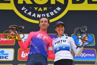 2019 Tour of Flanders winners Alberto Bettiol of Italy and Team EF Education First / Marta Bastianelli of Italy and Team Virtu Cycling