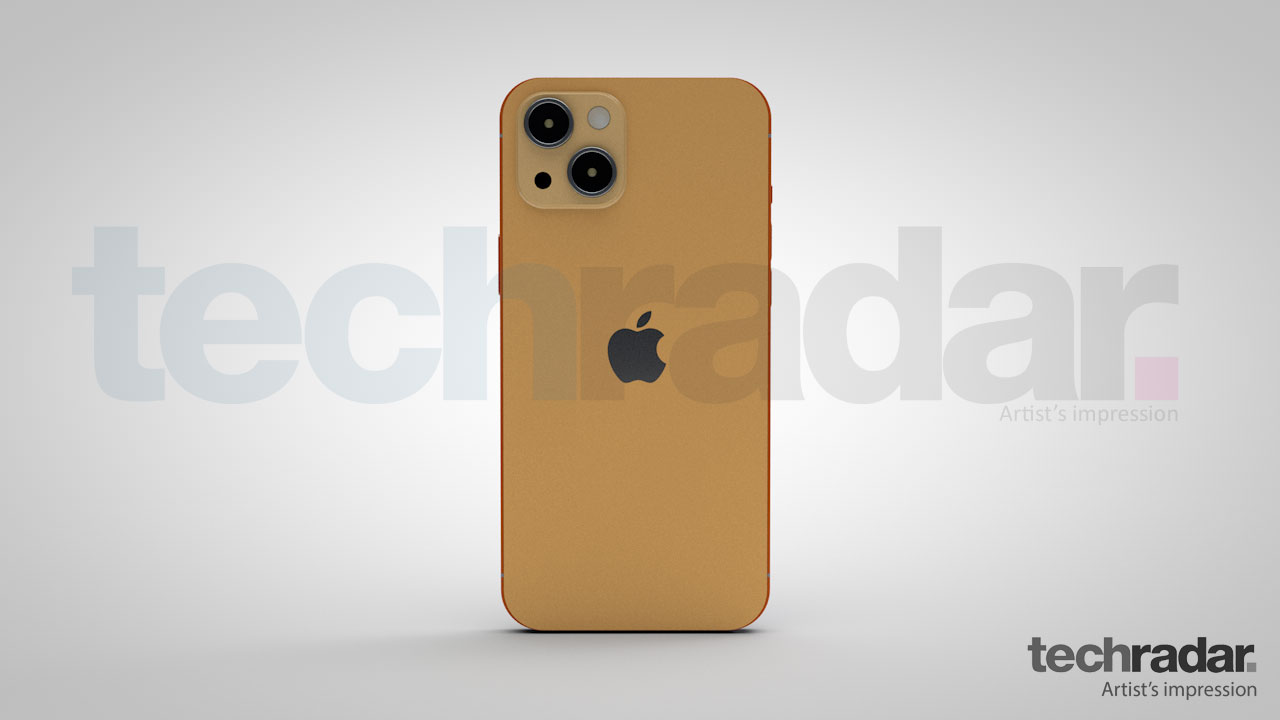 An artist's impression of the iPhone 13 in orange showing the rear design of the phone