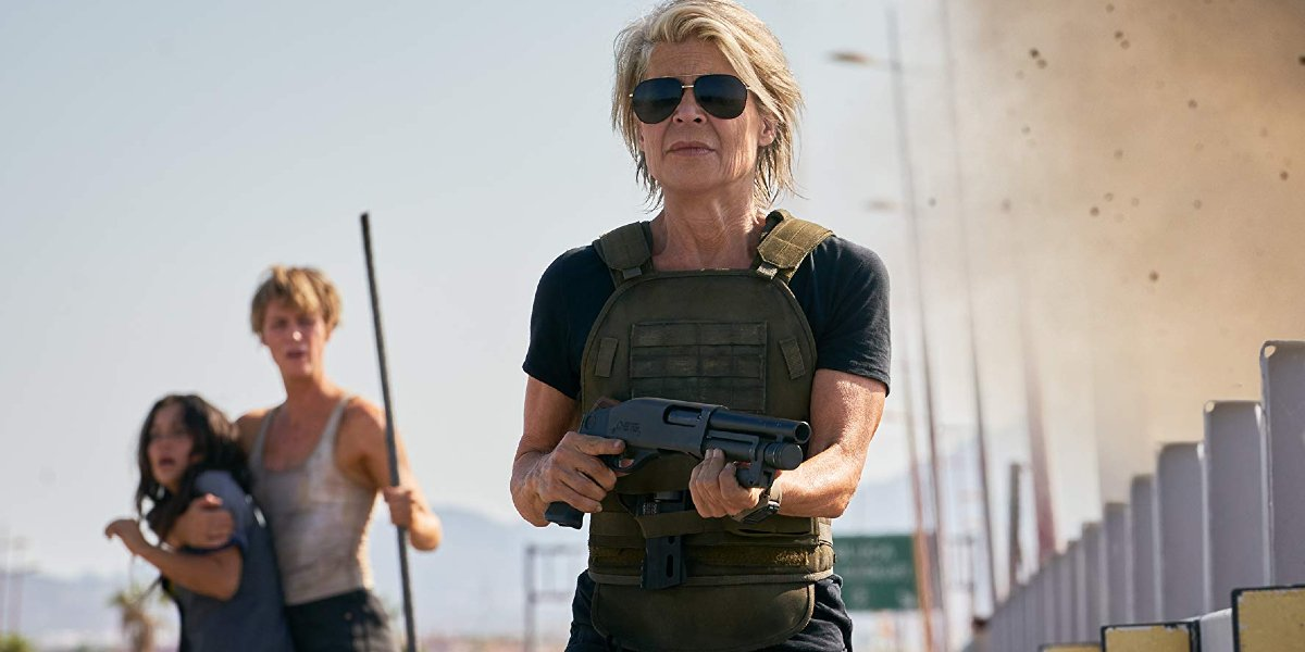 Terminator: Dark Fate Linda Hamilton marches towards the camera with a shotgun