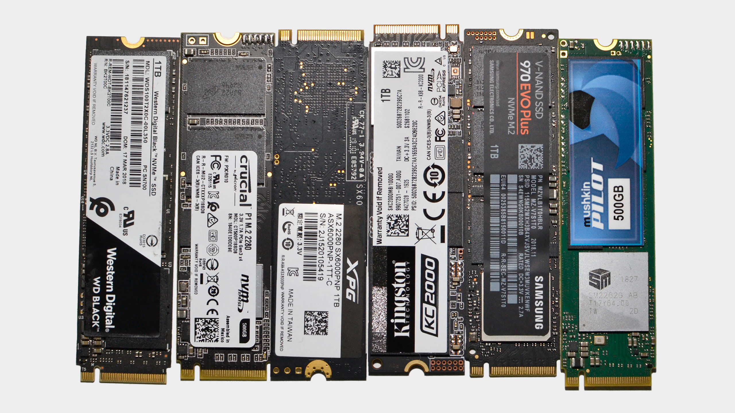 A collection of modern M.2 NVMe SSDs