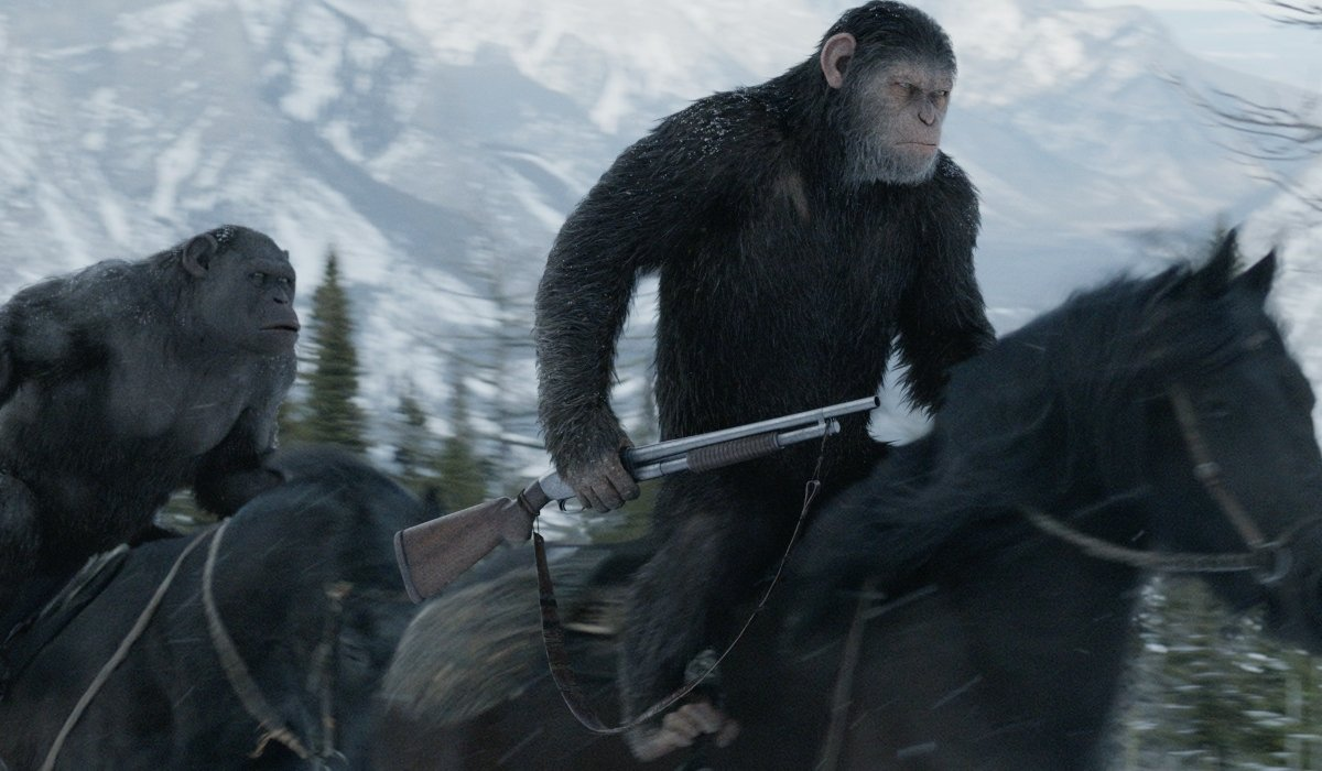War for the Planet of the Apes Caesar rides with a shotgun in hand