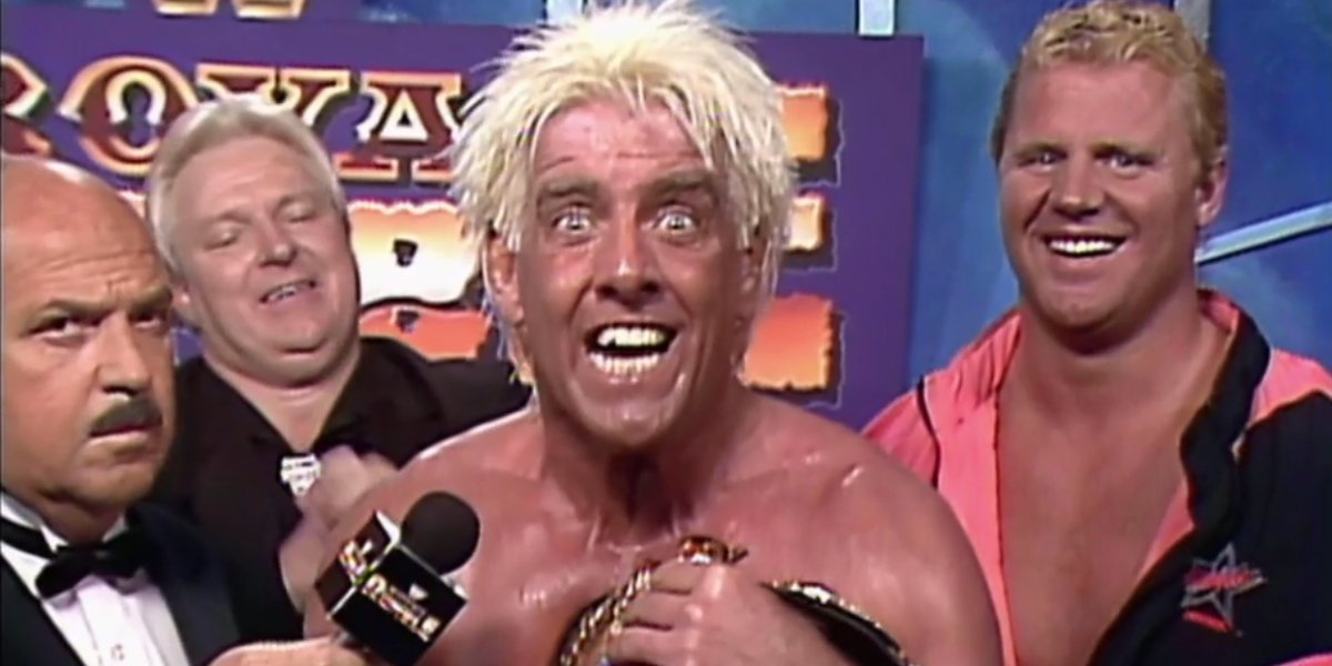 "Gene Okerlund, Bobby ""The Brain"" Heenan, Ric Flair, and Mr. Perfect at Royal Rumble 1992"