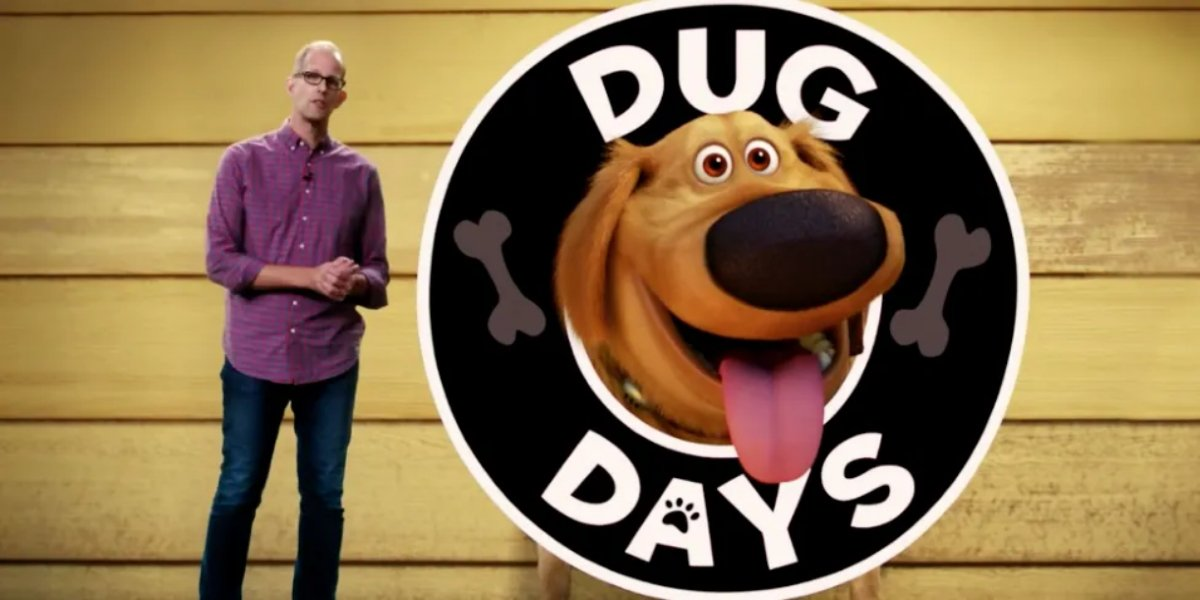 Pete Docter showing off Dug Days at the Disney+ reveal event