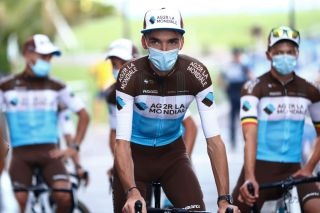 NICE FRANCE AUGUST 27 Romain Bardet of France and Team Ag2R La Mondiale Mask Covid safety measures during the 107th Tour de France 2020 Team Presentation in Place Massena on Nice TDF2020 LeTour on August 27 2020 in Nice France Photo by Michael SteeleGetty Images