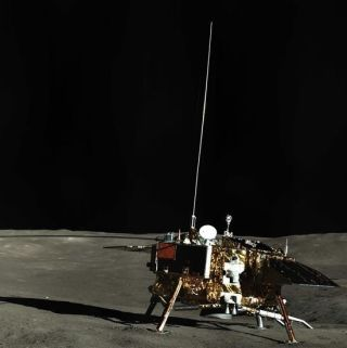 China's Chang'e 4 lander on the lunar far side, as observed by the mission's Yutu 2 rover.