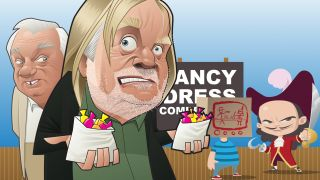 Cartoon of Rick Wakeman and Roy Hudd with two children in fancy dress