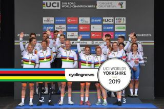 The UCI Road World Championships team time trial mixed relay podium