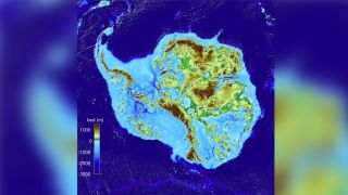Map of Antarctica ice sheet topography.
