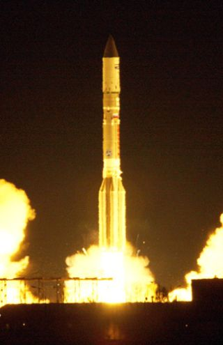 An International Launch Services Proton rocket launches the new SkyTerra 1 satellite into space from Baikonur Cosmodrome, Kazakhstan on Nov. 14, 2010.
