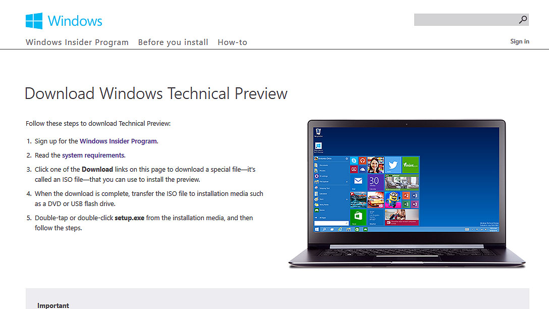 download the windows 10 technical preview iso installation file
