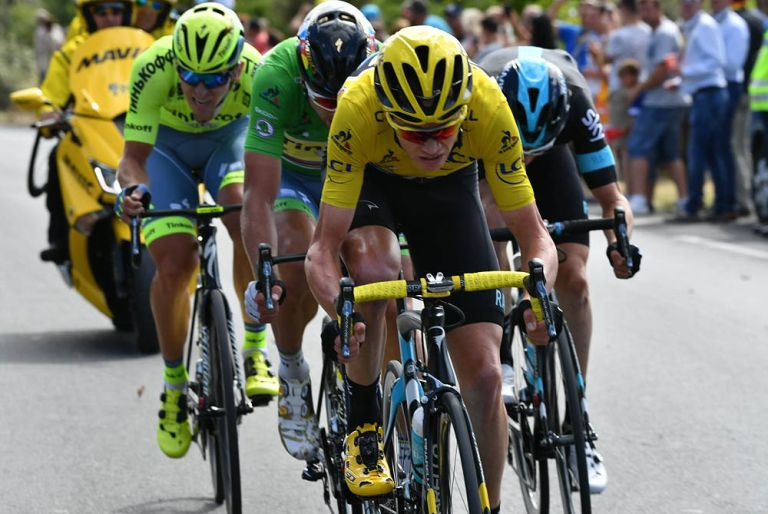 Chris Froome takes a turn at the front of the lead group as Sky and Tinkoff combine to gain an advantage on stage 11 of the Tour de France (Watson)