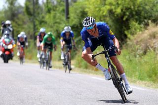 Tim Declercq (Deceuninck-QuickStep) leading his teammate in the autobus on stage 11 of the Tour de France