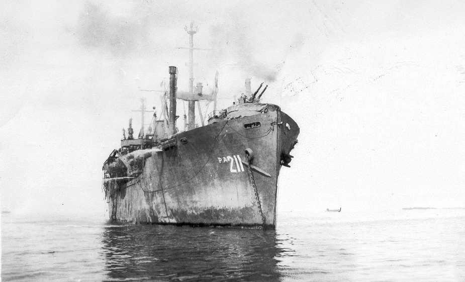 USS Missoula (APA-211), at anchor, in the transport area off Iwo Jima or Okinawa
