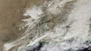 Satellite image of a line of severe storms sweeping across the South on Feb. 1.