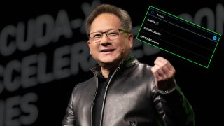 Nvidia CEO Jen-Hsung Huang with Twitter hashtag and leather jacket