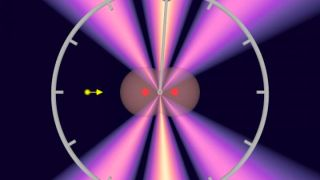 A particle of light, called a photon (yellow arrow), produces electron waves out of an electron cloud (grey) of a hydrogen molecule (red: nucleus). The result of those interactions is what's called an interference pattern (violet-white). The interference pattern is slightly skewed to the right, allowing researchers to calculate the time for the photon to get from one atom to the next.