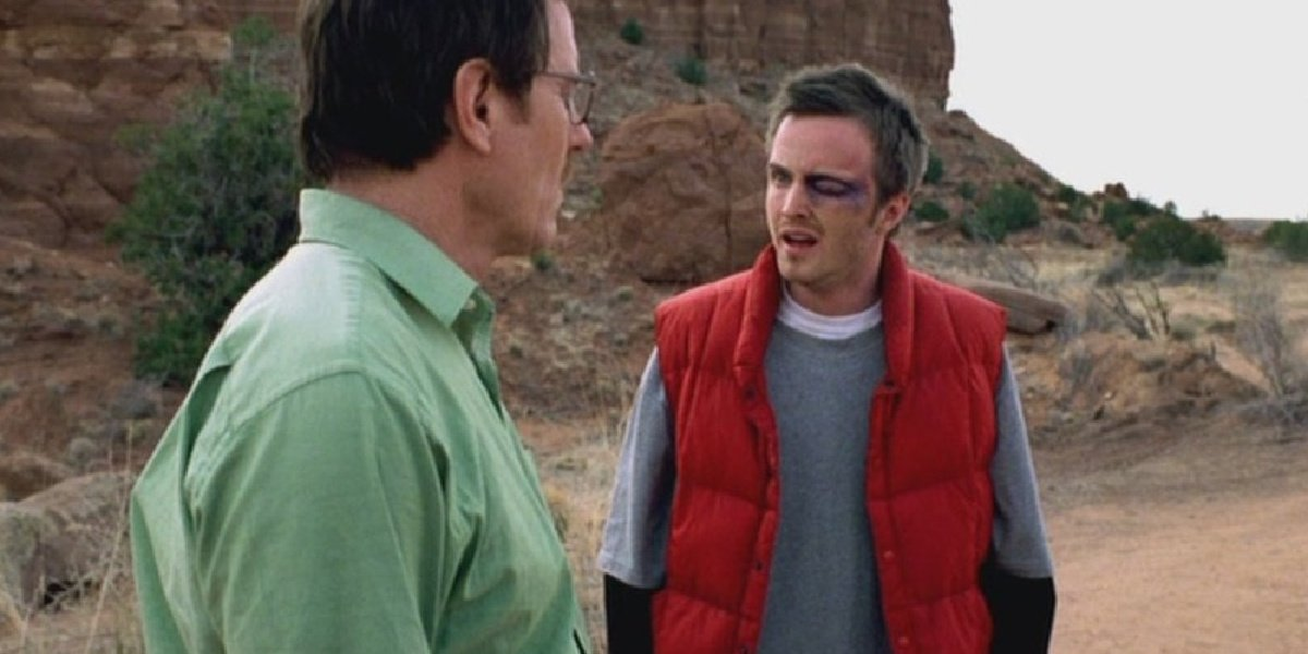 Walt and Jesse in the first episode of Breaking Bad.