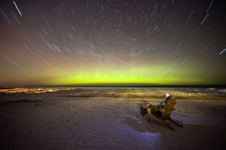Aurora over Lake Superior with Chair and Beer