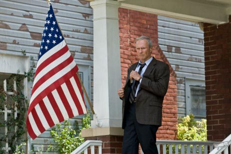 Gran Torino - Clint Eastwood's Walt Kowalski flies the flag for traditional American values