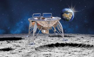 Artist's illustration of Israel's Beresheet lunar lander on the moon: The spacecraft totes a NASA-provided laser retro-reflector array.
