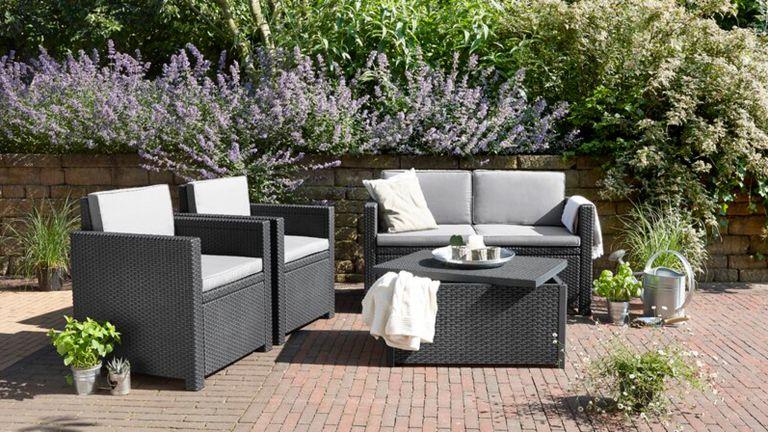 garden furniture sales:: Keter 4 Seater Rattan Effect Sofa Set