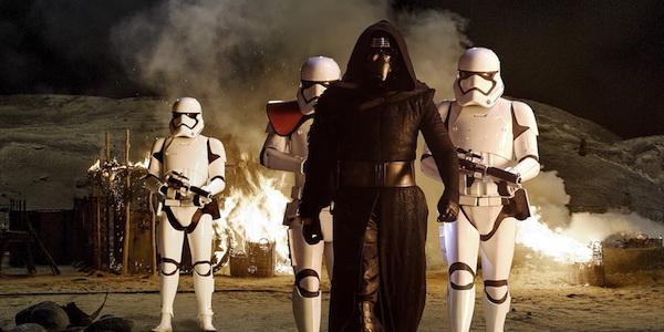 Kylo Ren with stromtroopers in The Force Awakens