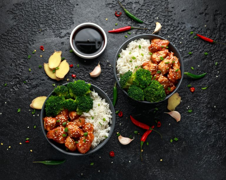 Teriyaki chicken with broccoli and steamed rice