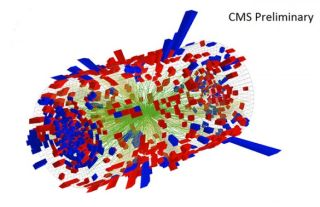 trajectory of subatomic particles produced inside the large hadron collider