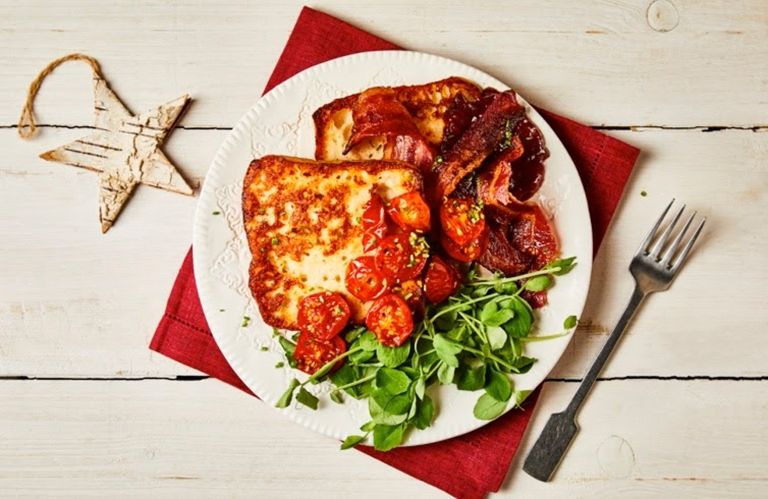 Festive candied bacon with french toast