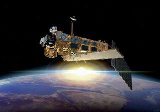 Illustration of the huge Envisat Earth-observing satellite