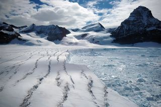 A glacier from the Larsen B ice shelf, on the Antarctic Peninsula, which completely collapsed in 2002.