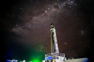 "Rocket Lab launch team member Kieran Fanning took this photo of the company's Electron rocket at night ahead of its planned ""It's Business Time"" launch from Māhia Peninsula, New Zealand on June 23, 2018."