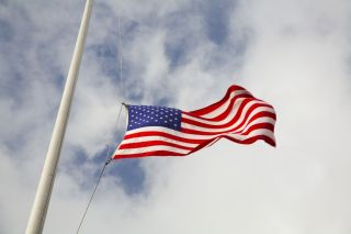 American flag at half-staff.