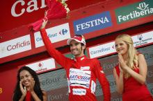 For the first time in his career Daniel Moreno (Katusha) dons the leader's jersey at a Grand Tour