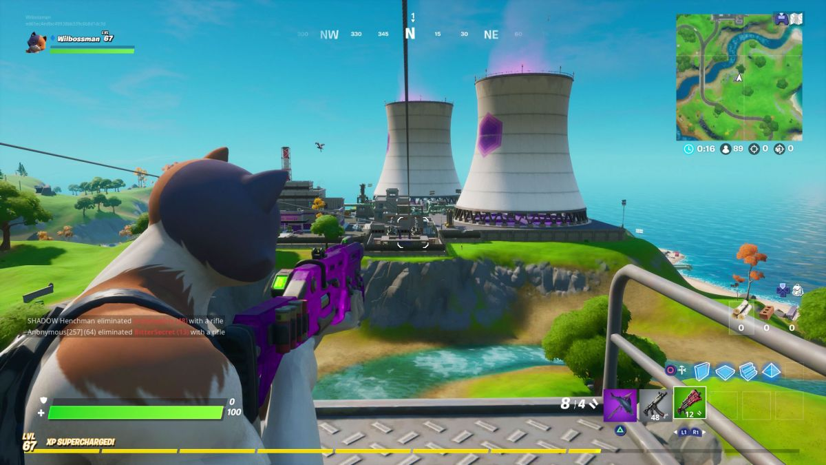 How to ride the Steamy Stacks, a Zipline, and use a Secret Passage in a single match in Fortnite
