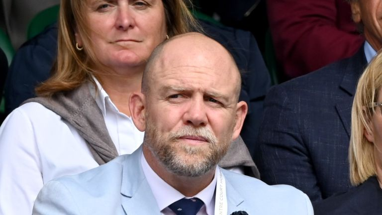 LONDON, ENGLAND - JULY 07: Mike Tindall and Zara Tindall attend Wimbledon Championships Tennis Tournament at All England Lawn Tennis and Croquet Club on July 07, 2021 in London, England. (Photo by Karwai Tang/WireImage/Getty)