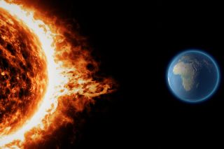 Sun, solar storm, earth, space universe. Elements of this image are furnished by NASA.