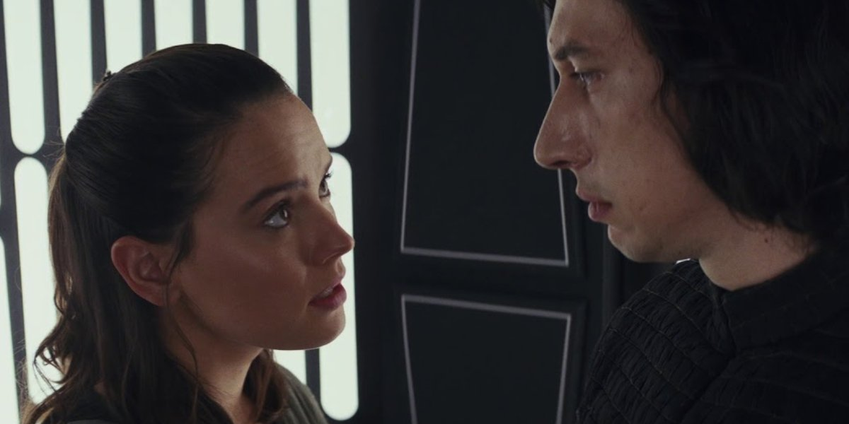 Star Wars: The Last Jedi Rey looks up to Kylo in the elevator