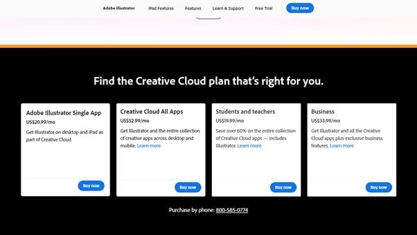 Téléchargez les options de plan tarifaire d'Illustrator - Adobe Illustrator