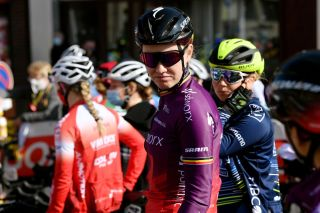 DOUR BELGIUM MARCH 02 Start Jolien Dhoore of Belgium and Team SD Worx during the 10th Le Samyn des Dames 2021 Womens Elite a 925km race from Quaregnon to Dour Team Presentation GPSamyn on March 02 2021 in Dour Belgium Photo by Mark Van HeckeGetty Images