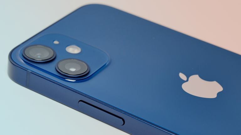 Apple iPhone 12 mini in blue on colour background