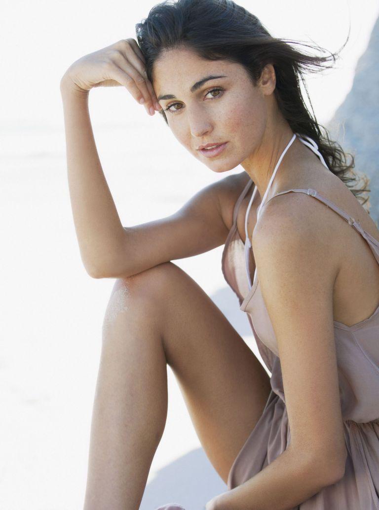 model on beach photo