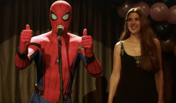 """Spider-Man: Far From Home Spider-Man wearing his """"original"""" suit at Aunt May's charity event"""